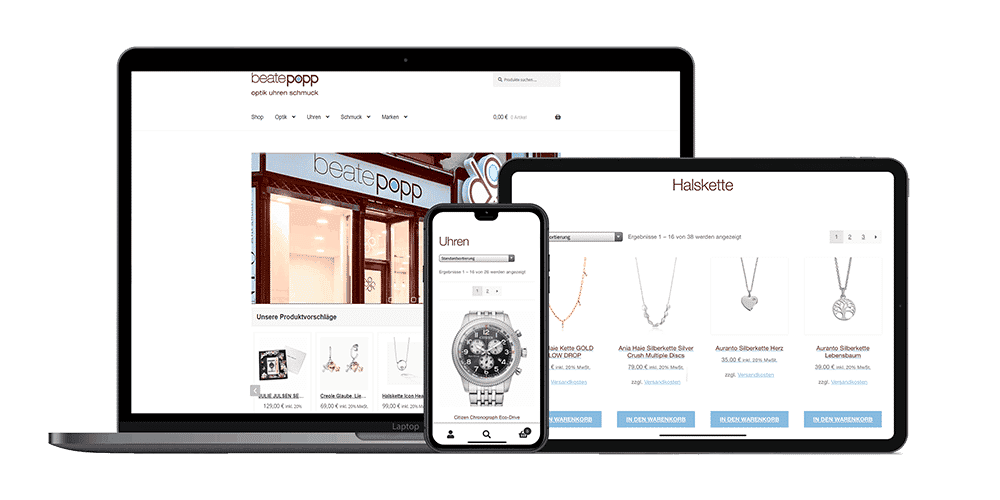 Onlineshop Beate Popp - Responsive Design